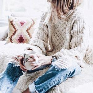 Super Chunky Aran Wool Knit Sweater
